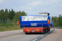 Oversize Load Road Transport, Rear View Royalty Free Stock Image