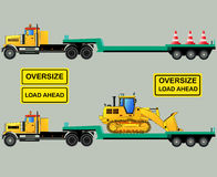 Oversize load truck and trailers, isolated, vector Stock Images