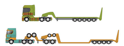 Oversize and overweight hauling trucks. Oversize and overweight hauling truck set of two Stock Images