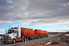 White truck carring diesel in large tanks. royalty free stock images