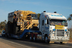 Oversize truck in Australia. Oversize truck on highway in Australian outback Royalty Free Stock Photography