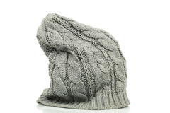 Oversized beanie in grey color Royalty Free Stock Images