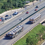 Oversized car carriers on the expressway, Beijing, China Stock Photography