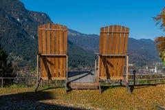 Oversized loungers on Riessersee overlooking Garmisch-Partenkirchen Royalty Free Stock Photography