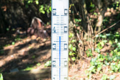 Oversized quicksilver thermometer in the blazing sun Stock Photos