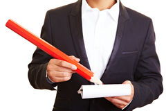 Oversized red pencil Stock Photos