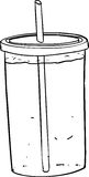 Oversized Soda with Straw. Outline illustration of full cup with straw and soda inside Stock Image