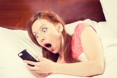 Oversleeping, woman missed the ringing of the alarm clock Stock Image