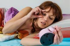 Oversleeping Woman Wake Up Stock Photos