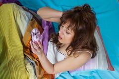 Oversleeping Woman Wake Up Stock Images