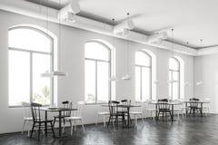 Overspannen inteiror van de vensters witte bar, zijaanzicht stock illustratie