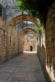 Overspannen passage in de Oude Stad van Jeruzalem Stock Afbeeldingen