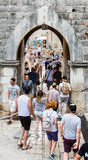 Overspannen toegang tot de Oude Stad van Dubrovnik ` s Stock Afbeeldingen