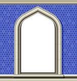 Overspannen venster, blauwe tegels Royalty-vrije Stock Afbeelding