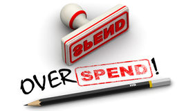 Overspend! Corrected seal impression Royalty Free Stock Photo