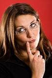 Overstated thoughtfully. Woman overstated thoughtfully posing. Or is she in doubt Royalty Free Stock Photography