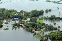 Overstromend in Tawung, Lopburi, Thailand Stock Foto