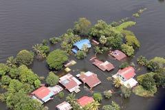 Overstromend in Tawung, Lopburi, Thailand Stock Afbeeldingen