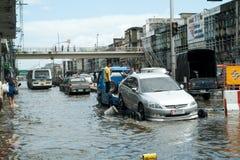Overstromende crisis in Thailand stock afbeeldingen