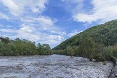 Overstromende rivier Royalty-vrije Stock Foto