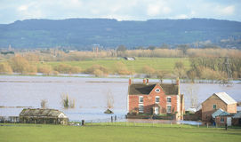 Overstroming in Engeland in Februari 2014 royalty-vrije stock fotografie
