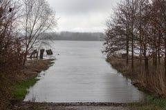Overstroming op de Rijn in Frankenthal in Duitsland royalty-vrije stock foto