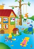Overstroming in stad van huisdieren Royalty-vrije Stock Foto