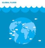 Overstroming van aarde Wereld in water Land onder water stock illustratie
