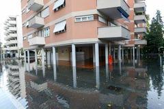 Overstroming van meer Maggiore in Locarno Royalty-vrije Stock Foto's