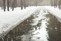 Overstroming van weg toe te schrijven aan sneeuw die en het toenemen van waterspiegel smelten Het incident van de de lentenoodsit stock foto