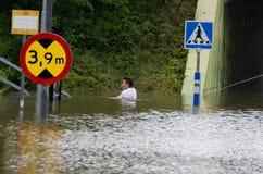 Overstroming in Zweden Royalty-vrije Stock Foto's