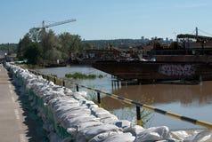 Overstromingsbeheer Belgrado Stock Foto's