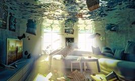 Overstroomde 3d woonkamer Royalty-vrije Stock Afbeeldingen