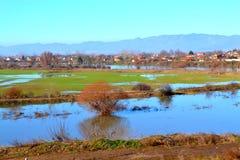 Overstroomde landbouwgrond, Bulgarije Royalty-vrije Stock Afbeeldingen