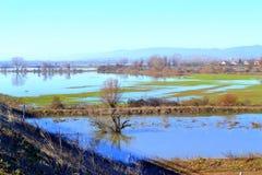 Overstroomde landbouwgrond, Bulgarije Royalty-vrije Stock Afbeelding