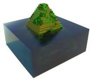 Overstroomde oude piramide - 3d art. stock illustratie