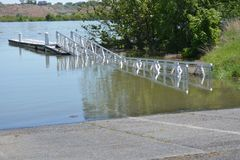 Overstroomde rivier in Richland Wa royalty-vrije stock foto's