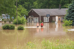 Overstroomde stad Stock Foto
