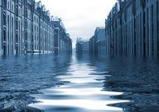 Overstroomde stad Royalty-vrije Stock Foto