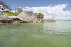 Overstroomde toevlucht bij Meer Baringo in Kenia Royalty-vrije Stock Foto's