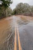 Overstroomde weg Stock Foto's
