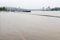 Overstroomde Weg, Boedapest Stock Afbeeldingen