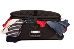Overstuffed baggage isolated Stock Photo