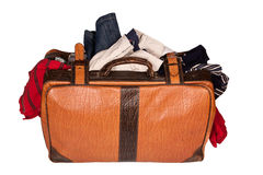 Overstuffed baggage isolated Royalty Free Stock Photo