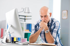 Overthinking the project Royalty Free Stock Images