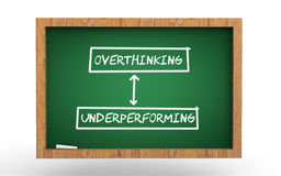 Overthinking and under-performing concept 3d green chalkboard Stock Image