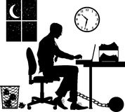 Overtime. Raster silhouette graphic depicting concept: overworked Stock Image