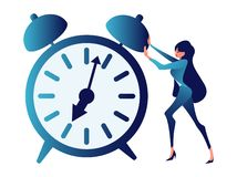 Overtime, ambiguous, time management. Abstract concept, a businessman is pushing a clock. In minimalist style. royalty free illustration