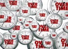 Overtime Extra Added Bonus Work Clocks Flying Royalty Free Stock Photography
