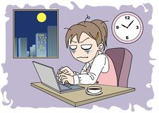 Overtime image woman - hard work royalty free illustration